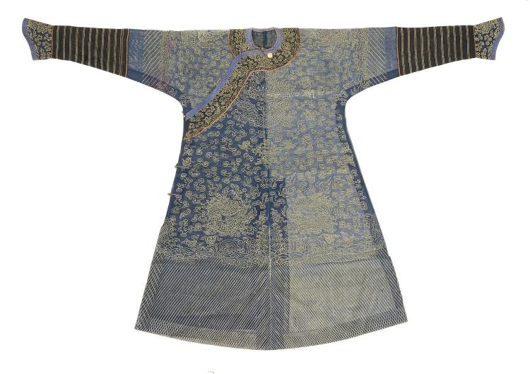 A Chinese dragon robe of blue summer weave gauze , Qing Dynasty, 19th century