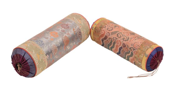 Two round bolster cushions, made from 18th and 19th century Chinese silk...