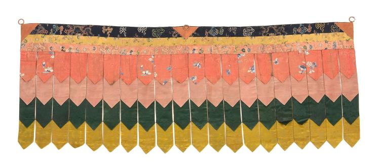 A fine Tibetan Temple banner, made from 18th and 19th century Chinese silk...