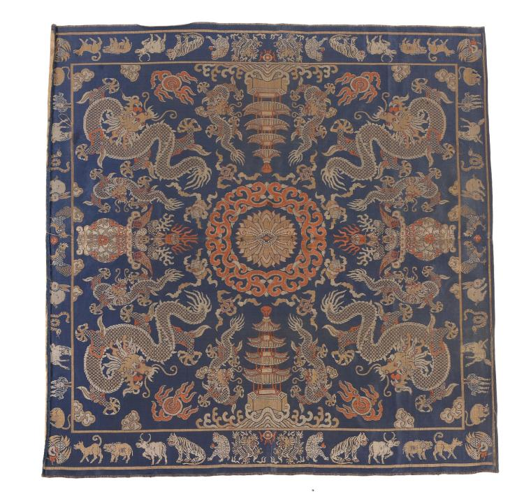 A large Chinese square silk brocade cushion cover, late Qing Dynasty