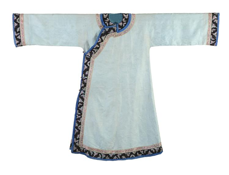 An attractive Chinese silk Damask Manchu Lady's robe, 19th century