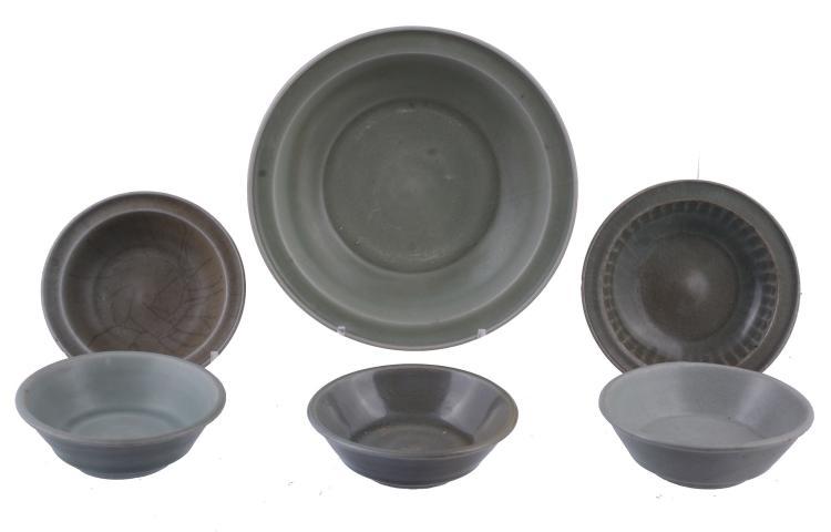 Six various Chinese celadon bowls, Southern Song and Yuan Dynasties