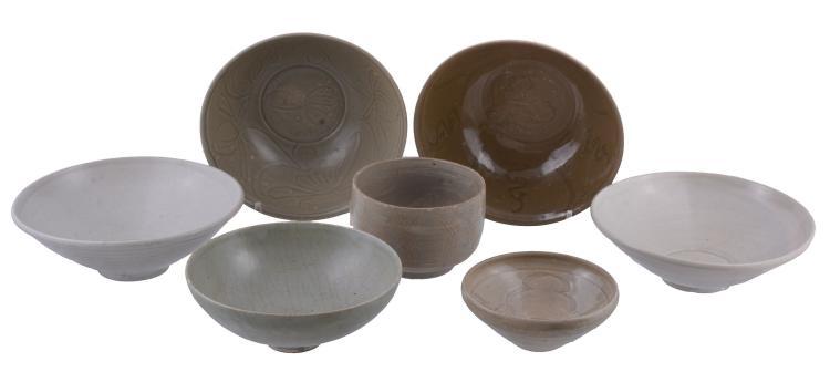 Seven various Chinese stoneware bowls , Song-Yuan Dynasty