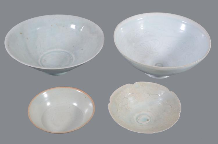 Four Chinese Qingbai bowls , Southern Song Dynasty , comprising