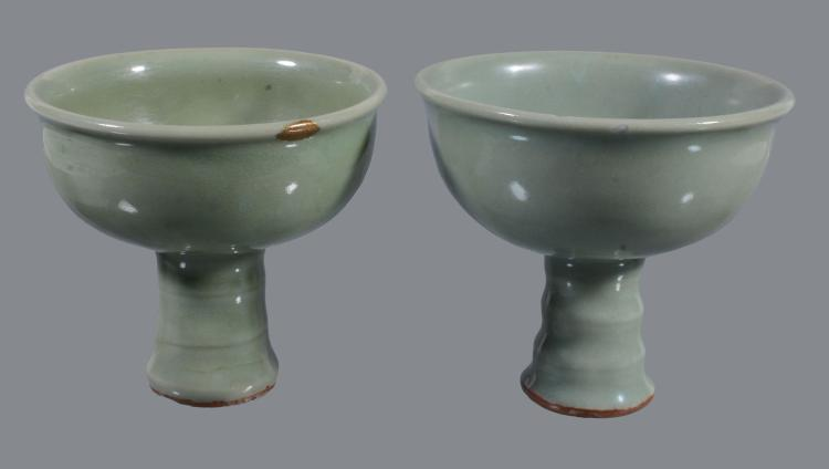 Two Chinese Longquan celadon stem cups , Late Yuan-early Ming Dynasty