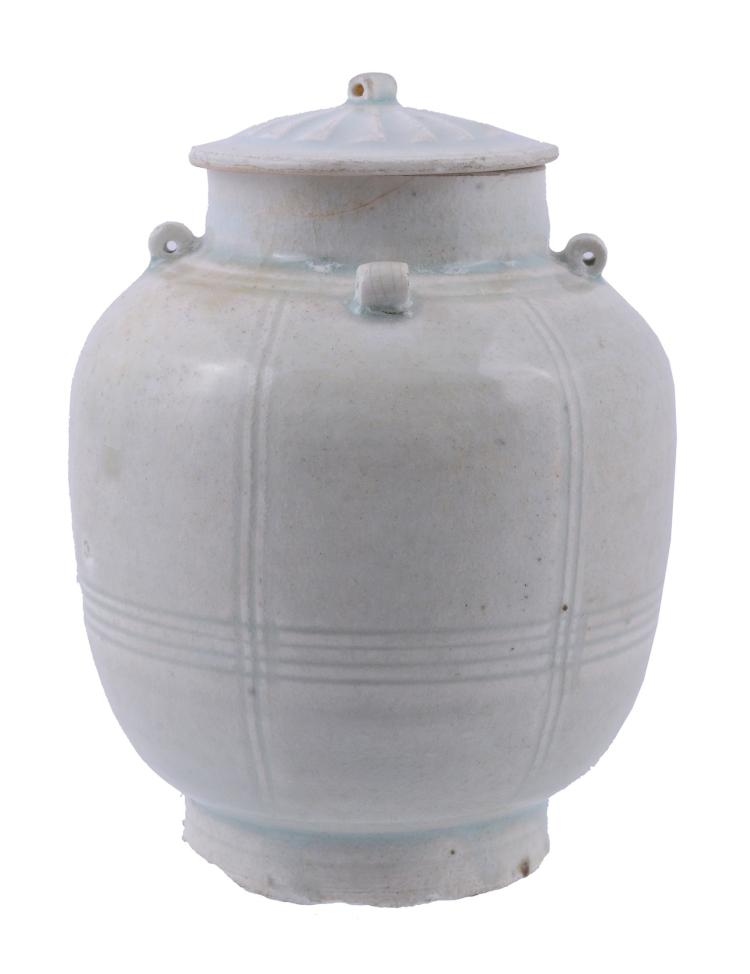 A Chinese Qingbai ovoid vase and cover , Southern Song Dynasty
