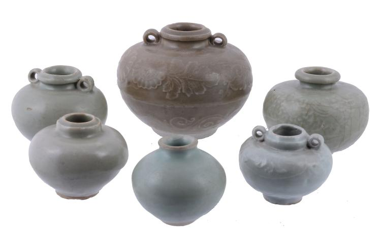 Six Chinese celadon glazed small jarlets, Song-Yuan Dynasty