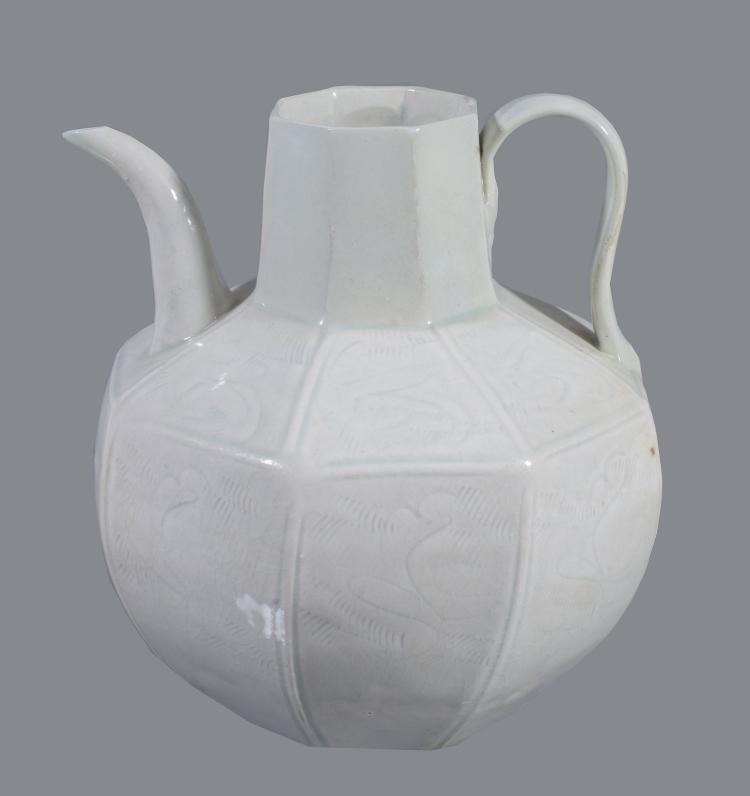 A Chinese Qingbai octagonal ewer , Southern Song Dynasty