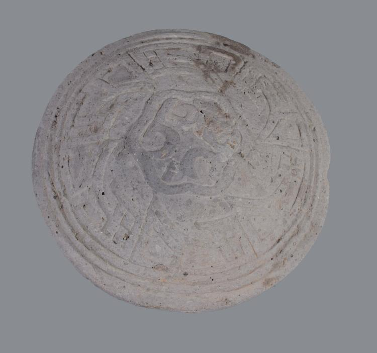A Chinese pottery mould , Song Dynasty, one side with stylised archaic...
