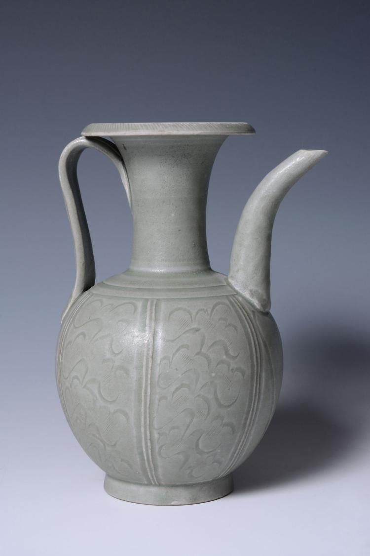 A Chinese celadon ewer, probably Northern Song Dynasty, 11th century