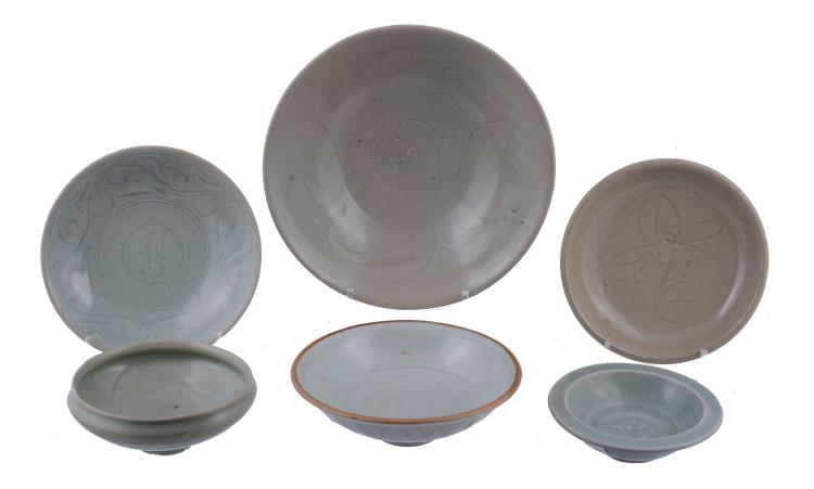 Six various Chinese celadon dishes, Song-Yuan Dynasty