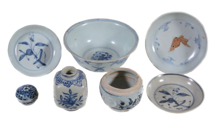 A group of Chinese blue and white wares , circa 1500 and later