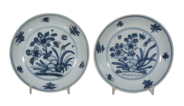A pair of blue and white small dishes, Tianqi