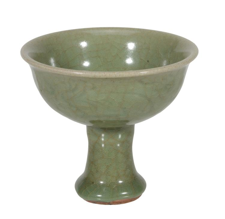 A Chinese Lonquan celadon stem cup , Ming Dynasty