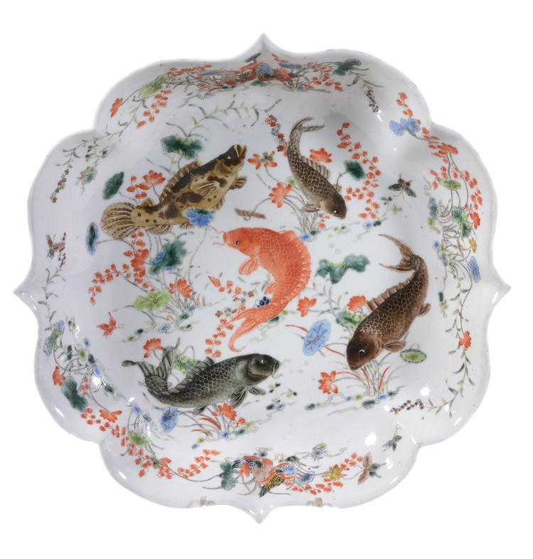 A Chinese Famille Verte shaped dish, in Kangxi style, probably late Qing