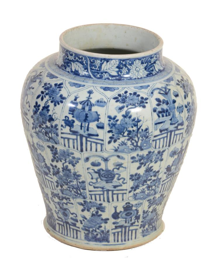 A large Chinese blue and white vase , Kangxi
