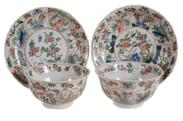 A pair of Chinese ribbed tea bowls and saucers , Kangxi