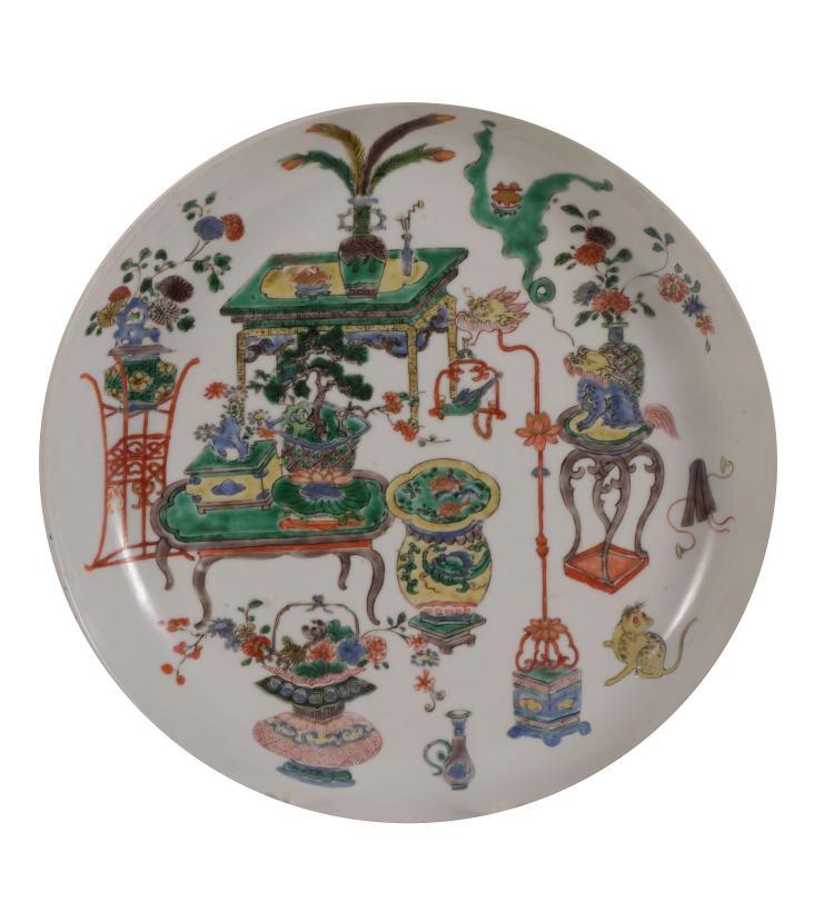 A Chinese Famille Verte saucer dish, Kangxi