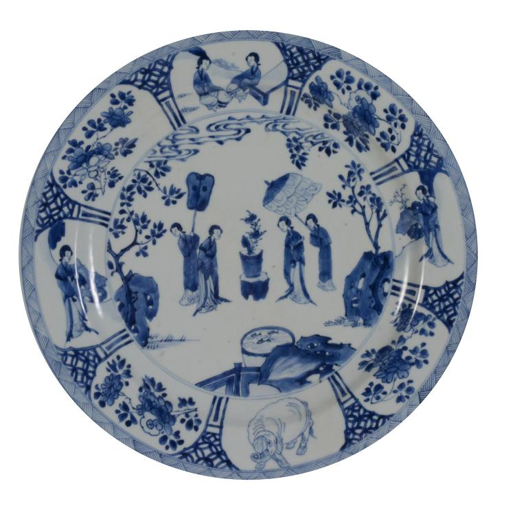 A large Chinese blue and white dish , Kangxi