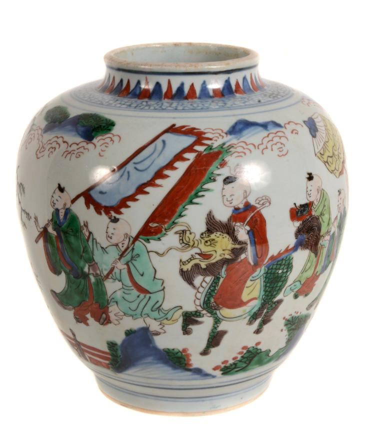 A Chinese Wucai vase , Shunzhi Period , painted with a continuous scene of a...