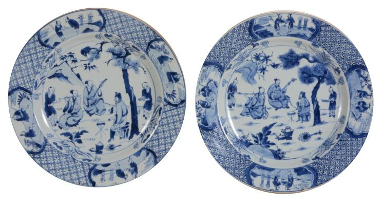 Two Chinese blue and white plates , Kangxi