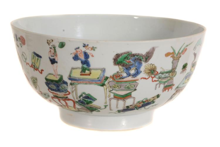 A Chinese Famille Verte bowl, Kangxi, the thickly potted and straight-sided...