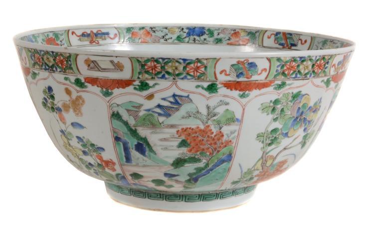 A large Chinese Famille Verte bowl , Kangxi