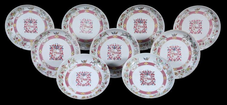 A Chinese export porcelain armorial dinner service