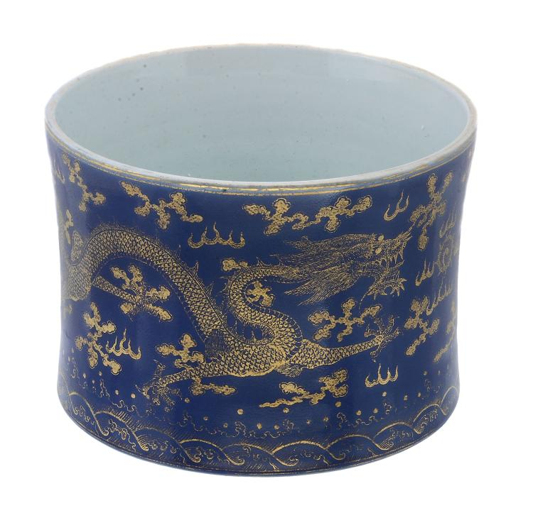 A Chinese powder-blue ground and gilt 'Dragon' brush pot, bitong