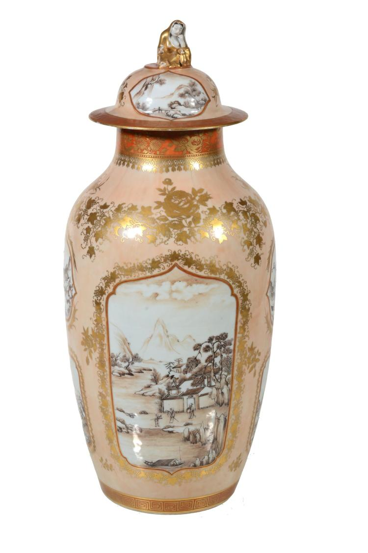 A large salmon-pink ground vase and cover, 19th century