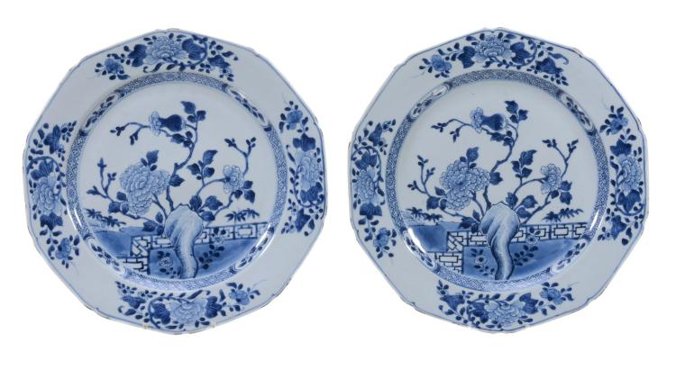 A pair of Chinese octagonal blue and white dishes , Qianlong