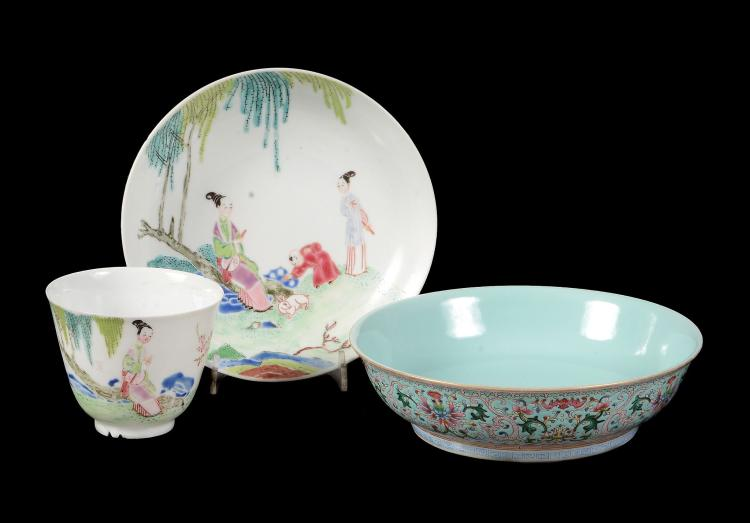 A Chinese Famille Rose tea bowl and saucer, fencai, Yongcheng
