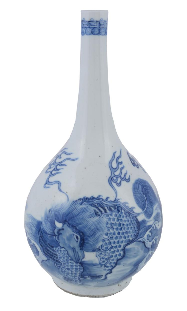 A Chinese blue and white bottle vase, Qing Dynasty
