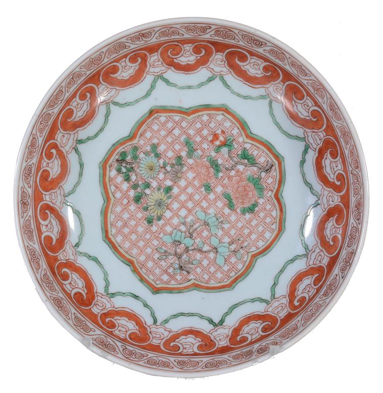 A Chinese celadon-backed Famille Verte bowl, Qing Dynasty