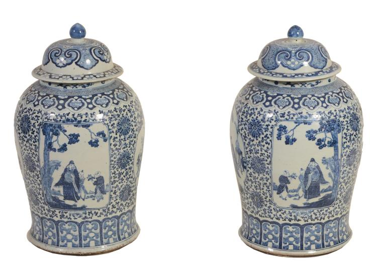 A large pair of Chinese blue and white vases, circa 1880-1900
