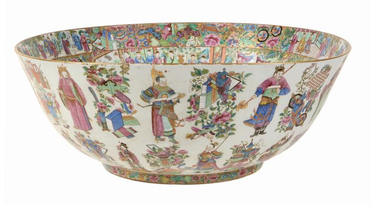 A very large Cantonese punch bowl, circa 1850
