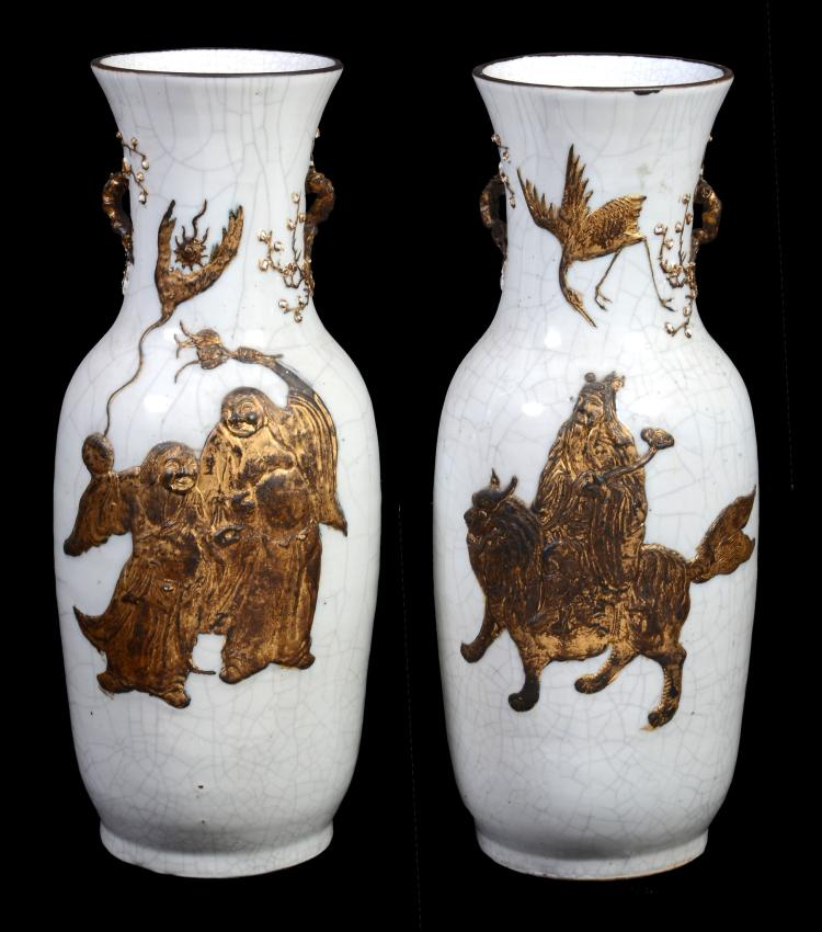 A pair of Chinese crackle-glazed vases, circa 1880-1900
