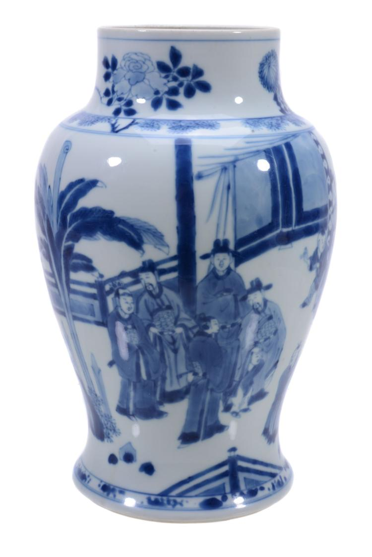 A Chinese blue and white vase , Kangxi, painted with a court scene with...