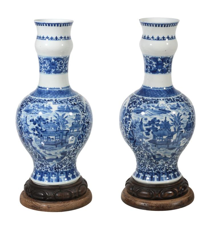 A pair of Chinese blue and white garlic neck vases, Qing Dynasty, 19 th century