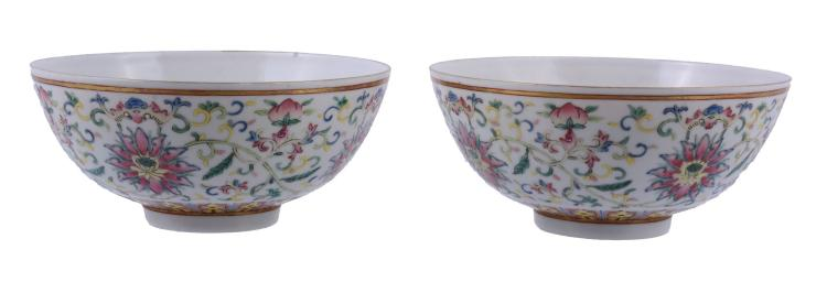A pair of Chinese Famille Rose Bowls , Guangxu mark and probably of the Period
