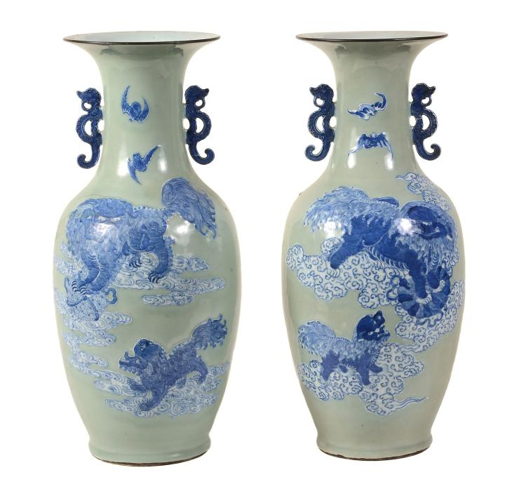 A large pair of Chinese celadon ground two-handled vases , 19th century