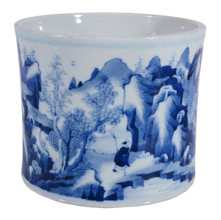 A Chinese Kangxi-style blue and white brush pot, bitong