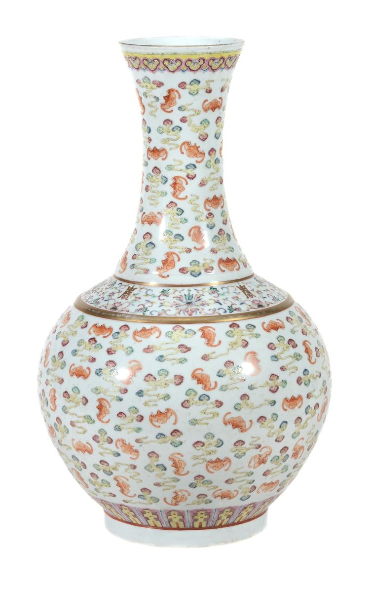 A good Chinese Famille Rose 'Hundred-bats' vase , Guangxu mark and period