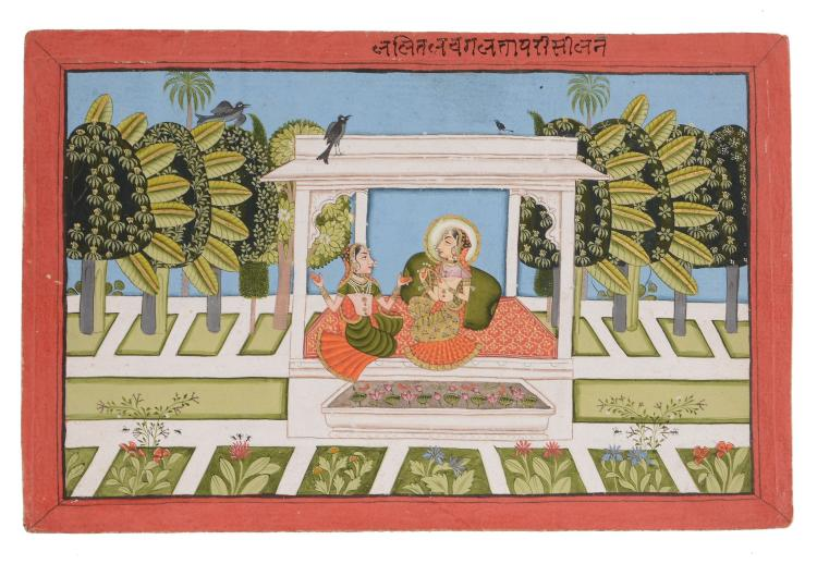 An Indian painting of two women in a pavilion, Rajasthan, circa 1800