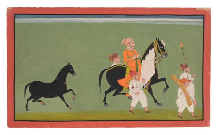 An Indian painting of a Ruler on Horseback, Udaipur, Rajasthan, circa 1800-1850