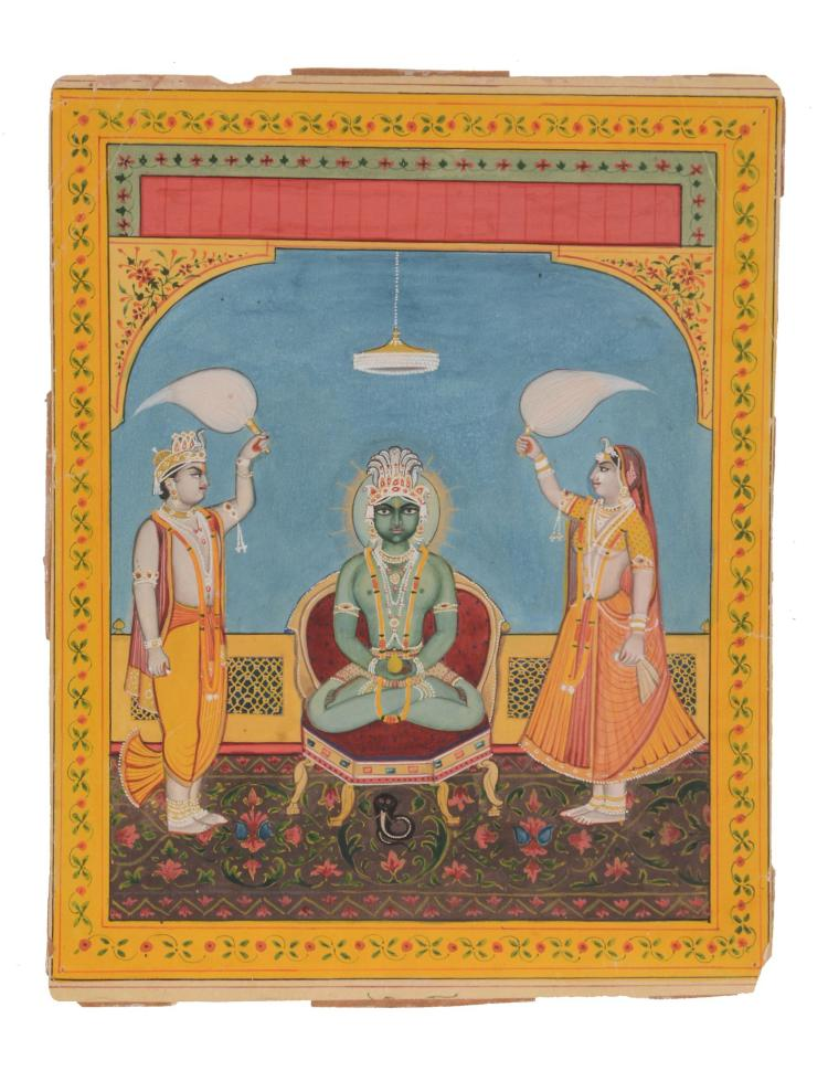 An Indian painting of a Parsvanatha , Rajasthan, late 19th century