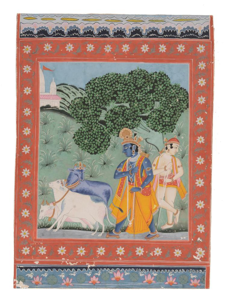 An Indian painting of Krishna and Balarama , Rajasthan, circa 1900