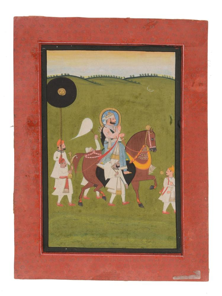 An Indian painting of a ruler of horseback , Mewar, Rajasthan