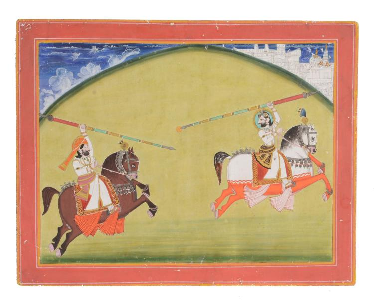 An Indian painting of a Javelin contest, probably Jodhpur, Rajasthan