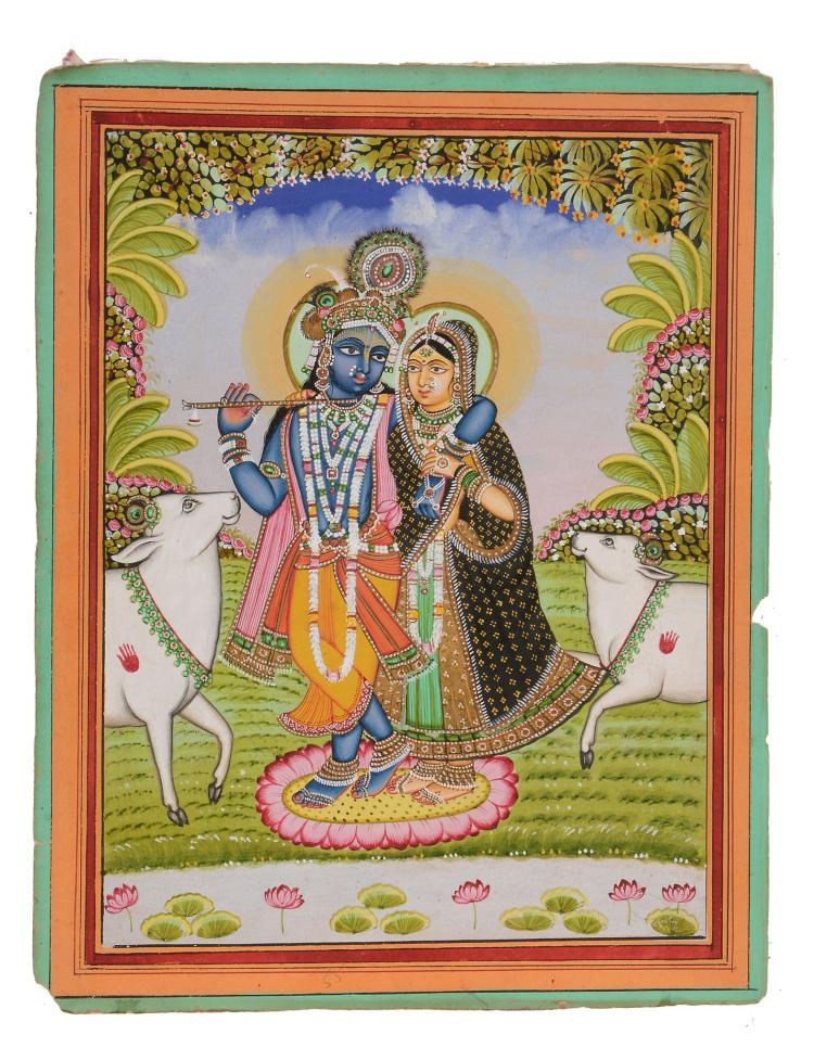 An Indian painting of Krishna and Radha , Jiapur, Rajasthan, late 19th century
